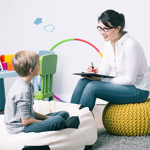 Woman Conversing with Child